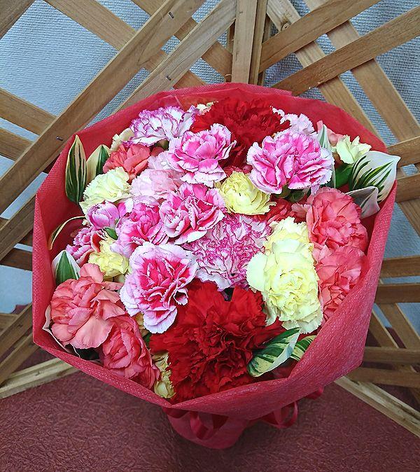 カラフルなかわいいカーネーションを 人気ブランド多数対象 ぎゅっと束ねてみました 真っ赤なラッピングペーパーでお花が引き立ちます 感謝の気持ちと笑顔を たくさんお届けします 送料無料 ありがとう 感謝の気持ちを伝えよう カーネーション花束 赤ラッピング 花 無料 フラワーギフト 誕生日 歓迎 記念日 退職祝い 結婚祝い 送迎 還暦 お祝い アレンジメント 母の日 #13