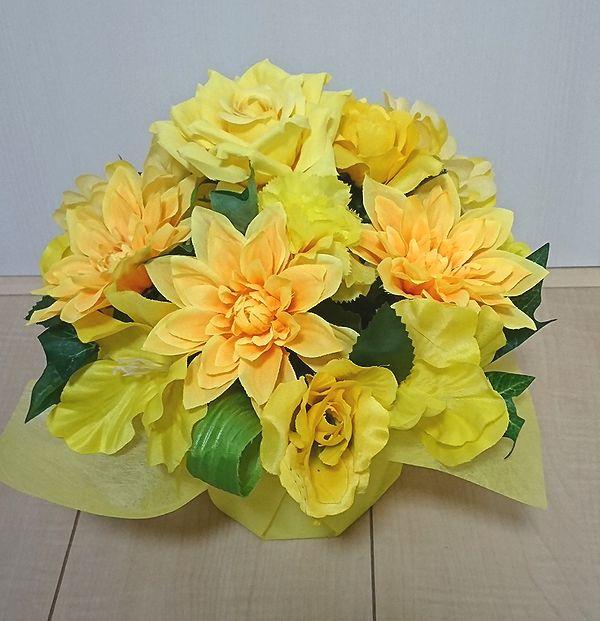 造花アレンジメント お花 器をおまかせしていただいて その分 ボリュームアップ 結婚祝い 素敵な造花アレンジメントはいかがでしょう 造花 ラウンドアレンジ イエロー ショップ 花 母の日 誕生日 フラワーギフト お祝い 記念日 歓迎 送迎 還暦 退職祝い アレンジメント 結婚祝い