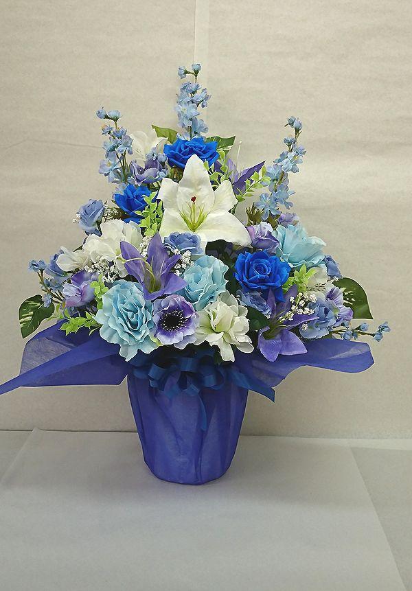 でました 造花でこんなに豪華なアレンジメント お花 器をおまかせしていただいて その分 ボリュームアップ 素敵な造花アレンジメントはいかがでしょう 造花 ボリューム満点 デザイナーおまかせアレンジメントH60 ブルー 楽ギフ_メッセ入力 花 記念日 期間限定お試し価格 フラワーギフト 誕生日 アレンジメント 送迎 結婚祝い お祝い 母の日 歓迎 No.5 日本正規代理店品 還暦 退職祝い