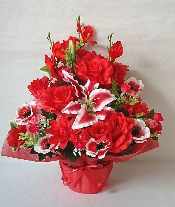 でました 造花でこんなに豪華なアレンジメント お花 器をおまかせしていただいて その分 ボリュームアップ 素敵な造花アレンジメントはいかがでしょう 造花 ボリューム満点 デザイナーおまかせアレンジメントH45 レッド 楽ギフ_メッセ入力 花 歓迎 フラワーギフト 商店 No.3 お祝い 母の日 誕生日 結婚祝い ランキング総合1位 アレンジメント 退職祝い 送迎 記念日 還暦