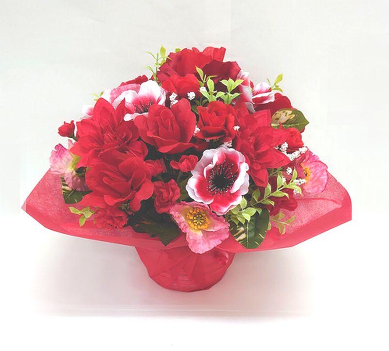 造花アレンジメント お花 器をおまかせしていただいて その分 ボリュームアップ 素敵な造花アレンジメントはいかがでしょう 造花 限定品 ラウンドアレンジ レッド 花 母の日 退職祝い 新色追加 歓迎 誕生日 結婚祝い お祝い フラワーギフト アレンジメント 記念日 還暦 送迎