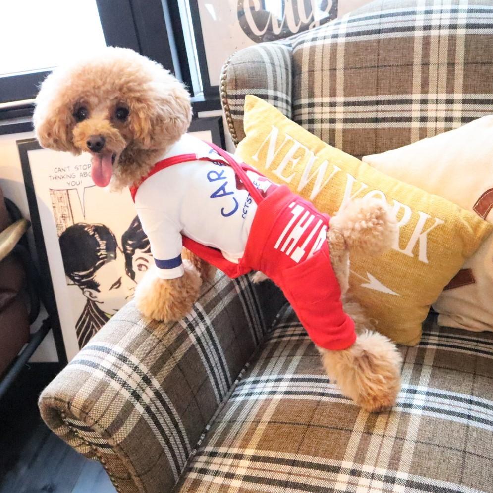 スエット サスペンダー付 カバーオール当店で人気 無料サンプルOK 動きやすさも抜群 ボタンで長さの調節可能なサスペンダーつきでずり落ちも防止 送料無料(一部地域を除く) 着回し力もポイント 犬の服 パンツ 犬服 人気商品 スエットパンツ 犬