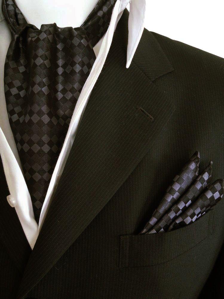【アスコット】【ポケットチーフ】ブロック柄/シルク100%/ブラック/グレー/SET-83-Y【フランコジャガード】2点セットでこの価格!