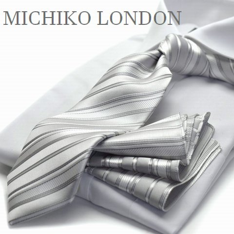 【礼装ネクタイ】【チーフ付ネクタイ】MICHIKO LONDON ストライプ結婚式/披露宴/パーティ【CPN-179】【日本製】