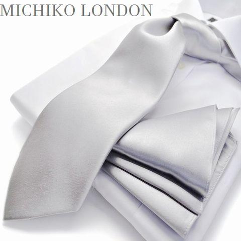 【MICHIKO LONDON】【チーフ付】朱子織・無地ネクタイシルバー/M-MUK-CPN-S-129【日本製】