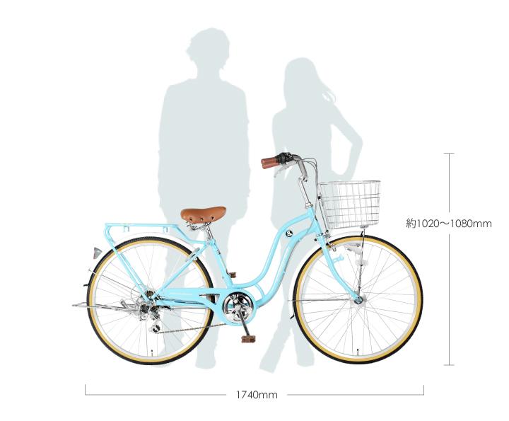 自転車26インチシティサイクルSD266RHDSHIMANO6段変速LEDオートライト通学通勤バスケットリアキャリアおしゃれa.n.designworks最安値に挑戦訳ありアウトレット【組立済】