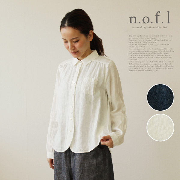 nofl リネンシャツブラウス  nofl ノフル 麻 リネン シャツ ブラウス 無地 白シャツ 日本製 ナチュラル レディースファッション 服 apparel