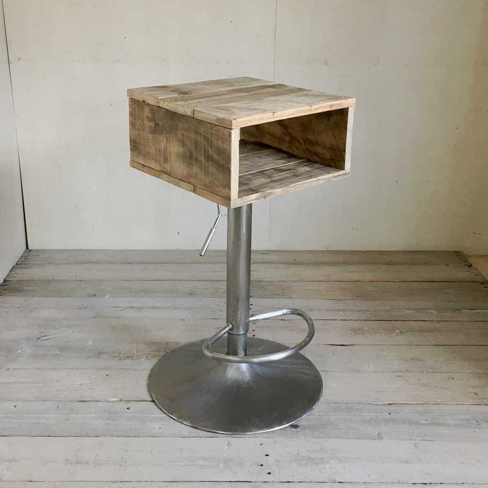 【1点モノ】サイドテーブル サブテーブル ナイトテーブル 天然木 リサイクルウッド 回転テーブル