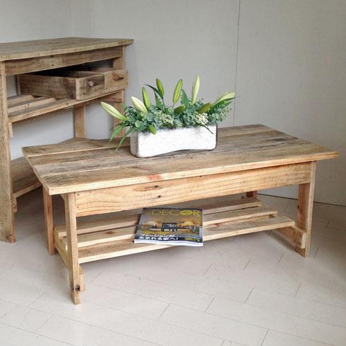 【送料無料】リサイクルウッド 幅100cmリビングテーブル 机 テーブル ローテーブル 木製 センターテーブル 座卓 ちゃぶ台 アンティーク風 天然木 無垢