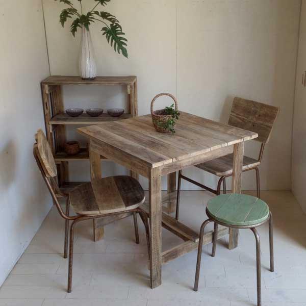 リサイクルウッドカフェテーブル木製テーブル テーブル ダイニングテーブル カフェテーブル 二人掛けテーブル 天然木 無垢 アンティークテーブル アンティーク風