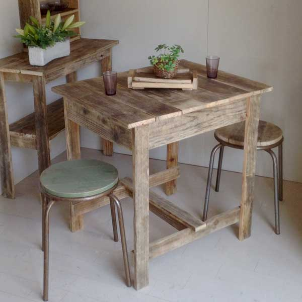 リサイクルウッド プチカフェテーブル 木製テーブル テーブル ダイニングテーブル カフェテーブル 二人掛けテーブル 天然木 無垢 アンティークテーブル アンティーク風