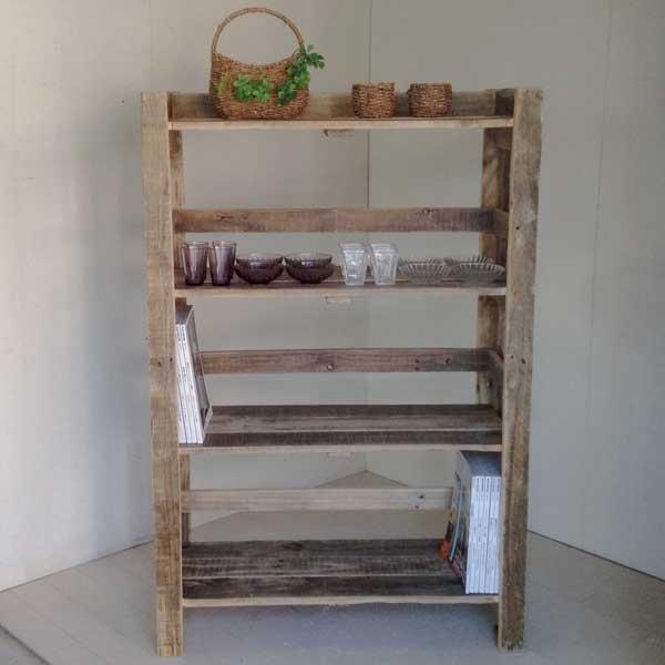 【送料無料】リサイクルッド シェルフアンティーク風シェルフ 木製シェルフ 収納棚 木製 本棚 収納 家具 書棚 ラック 多目的ラック ディスプレイ キャビネット 天然木 無垢