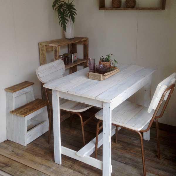 【送料無料】リサイクルウッド ワーキングテーブル ホワイト 木製テーブル テーブル ダイニングテーブル カフェテーブル 作業台 木製デスク デスク 天然木 無垢 アンティーク風テーブル アンティーク風