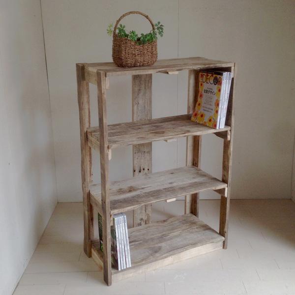 リサイクルウッド シェルフ-5 3段アンティーク風シェルフ 木製シェルフ 収納棚 木製 本棚 収納 家具 書棚 ラック 多目的ラック ディスプレイ キャビネット 天然木 無垢