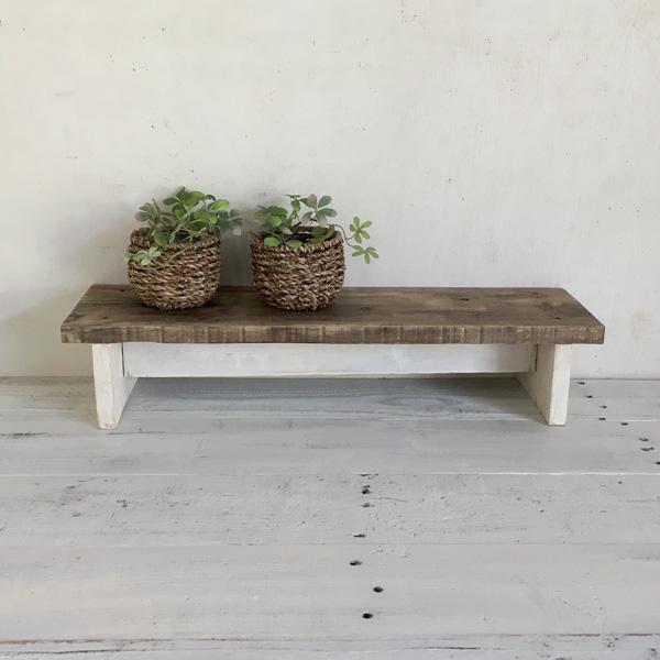 ミニ踏み台もう少しでとどきそうな時に便利なちょとした踏み台にミニ飾り台としてテーブルやボードの上においてお使いいただけます リサイクルウッド・踏み台ワイドミニ ツートンカラーホワイトステップ 木製ステップ 木製 木製踏み台 ふみ台 飾り棚 ディスプレイ台 天然木 無垢