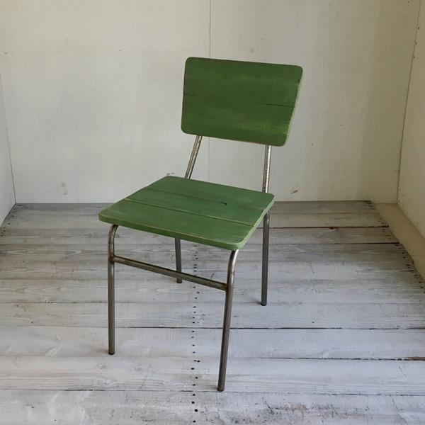【送料無料】リサイクルウッド ダイニングチェア スクエア リーフグリーン 食卓椅子 スチール脚 アンティーク風 レトロ 無垢 天然木