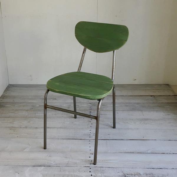 【送料無料】リサイクルウッド ダイニングチェア ラウンド リーフグリーン 食卓椅子 スチール脚 アンティーク風 レトロ 無垢 天然木