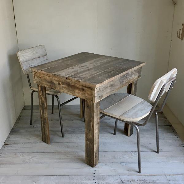 リサイクルウッド カフェテーブル2 トレート脚 木製テーブル テーブル ダイニングテーブル カフェテーブル 二人掛けテーブル 天然木 無垢 アンティークテーブル アンティーク風