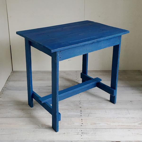 リサイクルウッド ワーキングテーブル コンパクト アクアブルー 木製テーブル テーブル ダイニングテーブル カフェテーブル 作業台 木製デスク デスク 天然木 無垢 アンティーク風テーブル アンティーク風