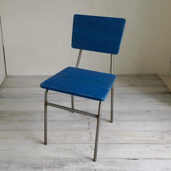 【送料無料】リサイクルウッド ダイニングチェア スクエア アクアブルー 食卓椅子 スチール脚 アンティーク風 レトロ 無垢 天然木