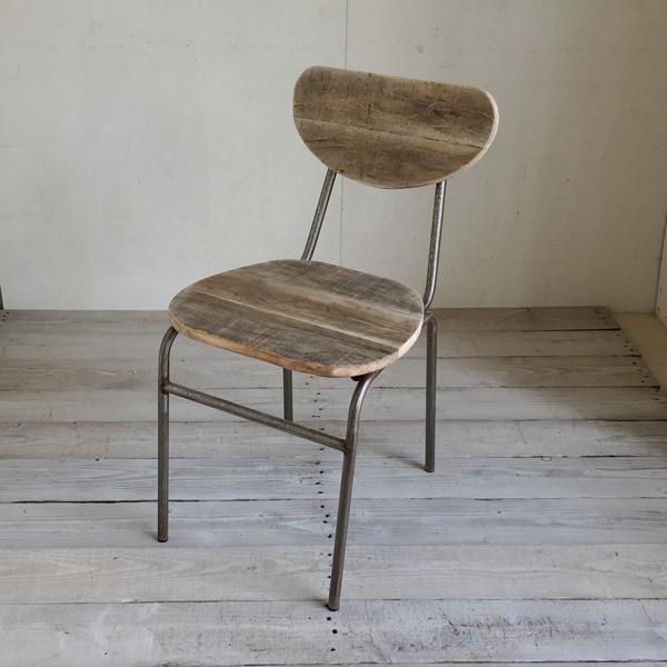 【送料無料】リサイクルウッド ダイニングチェア ラウンド食卓椅子 スチール脚 アンティーク風 レトロ 無垢 天然木