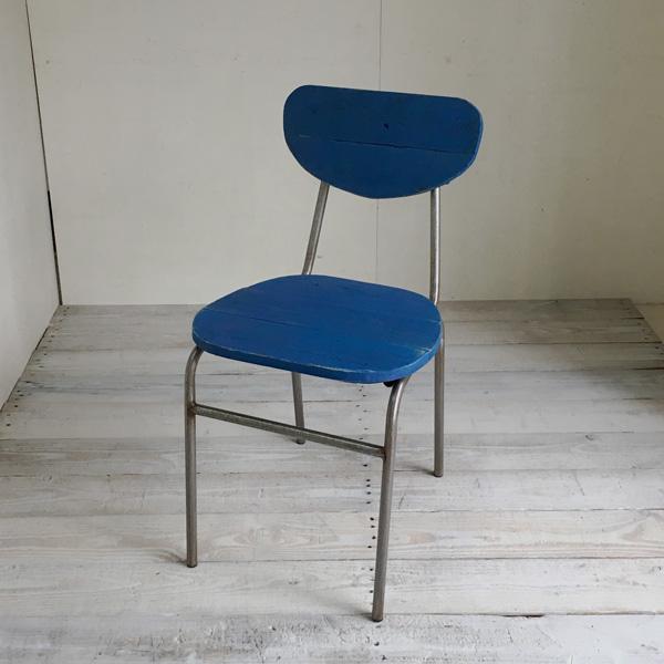 【送料無料】リサイクルウッド ダイニングチェア ラウンド アクアブルー 食卓椅子 スチール脚 アンティーク風 レトロ 無垢 天然木