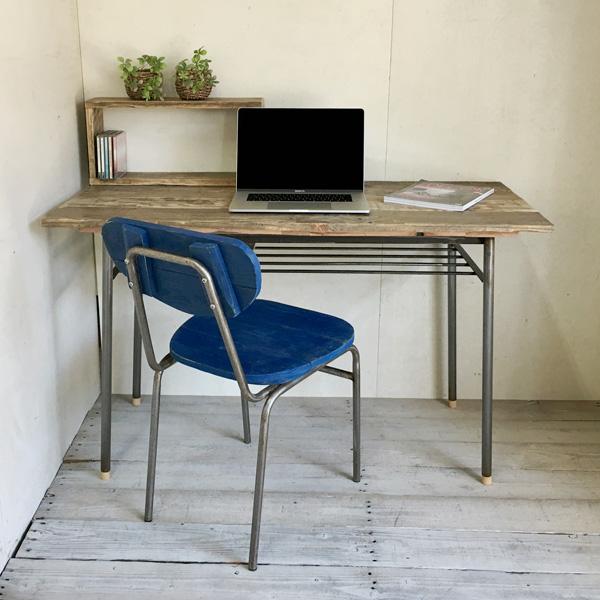【送料無料】スチール脚テーブルリサイクルウッド リサイクルウッドテーブル ダイニングテーブル デスク アンティーク風テーブル アンティーク風デスク 無垢 レトロ