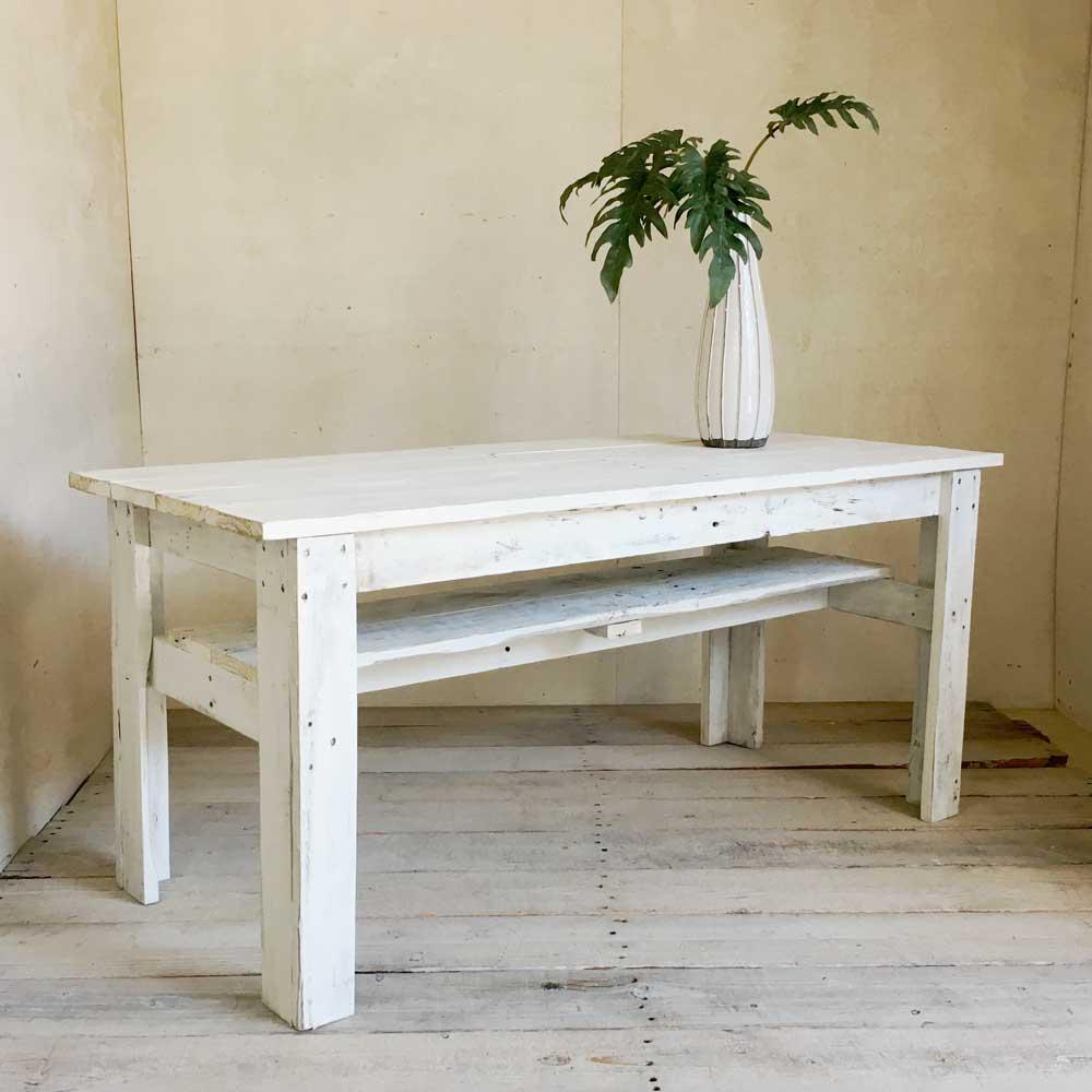 リサイクルウッド リビングダイニング兼用テーブル ホワイト 机 テーブル ダイニングテーブル リビングテーブル 木製 センターテーブル 座卓 ちゃぶ台 アンティーク風 天然木 無垢