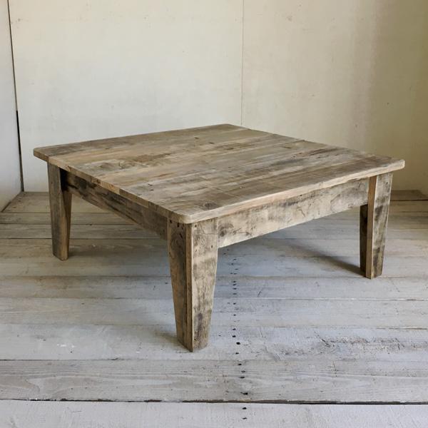 【送料無料】リサイクルウッド・75cm角 ローテーブル 机 テーブル 木製 センターテーブル 座卓 ちゃぶ台 アンティーク風 天然木 無垢