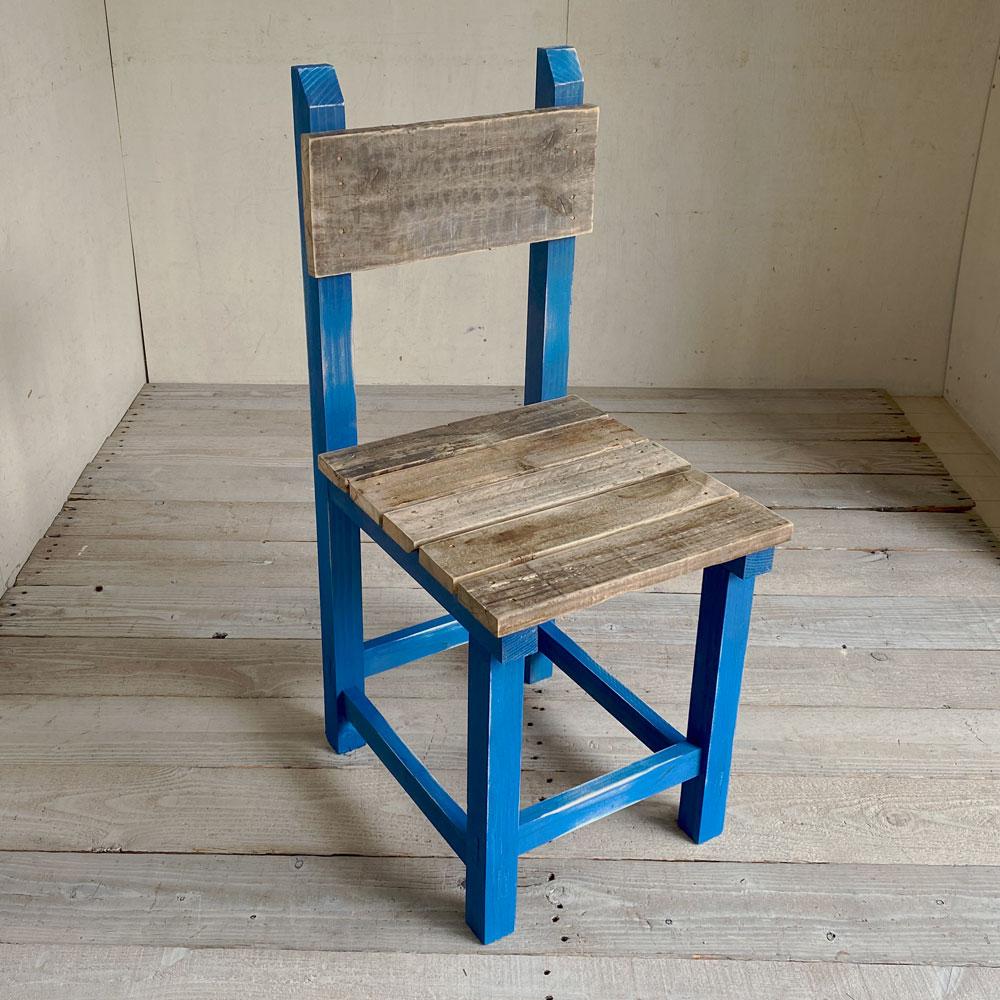 【新商品】学校のイス ブルー 木製イス ダイニングチェア 食卓椅子 レトロ椅子 木製チェア