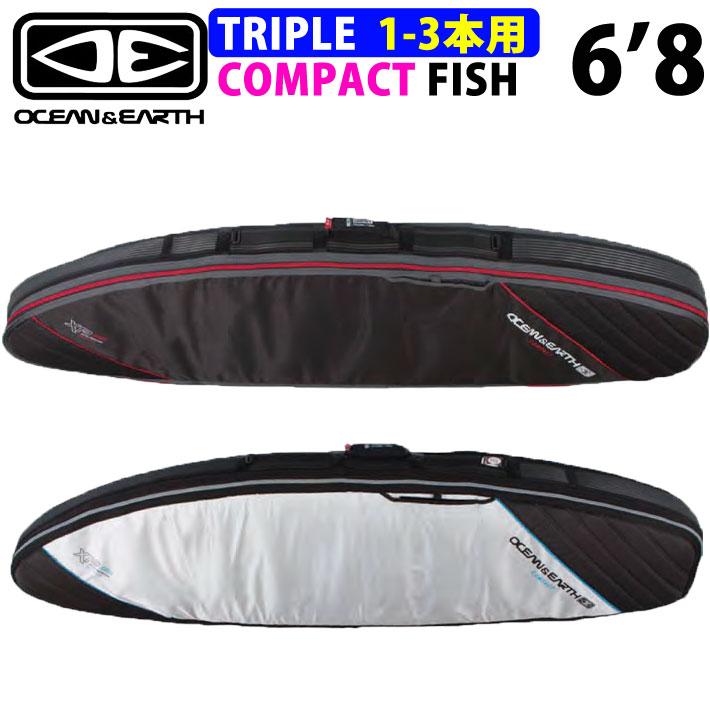 トラベルケース サーフボードケース 3本収納可能 OCEAN&EARTH ショートボードケース TRIPLE COMPACT FISH XP 6'8 トリプルコンパクト フィッシュ レトロ トラディション オルタナティブボード用 オーシャンアンドアース
