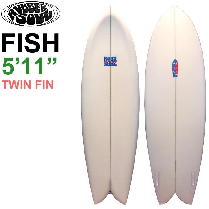 """RUBBER SOUL ラバーソウル サーフボード FISH 5'11"""" Clear フィッシュボード ショートボード TWIN ツインフィン [条件付き送料無料]"""