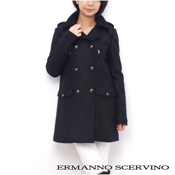 レディース エルマンノ シェルヴィーノ ERMANNO SCERVINOSCERVINO STREET 襟スパンコール装飾 コート アウター ブラック (11l SD 041 BK)