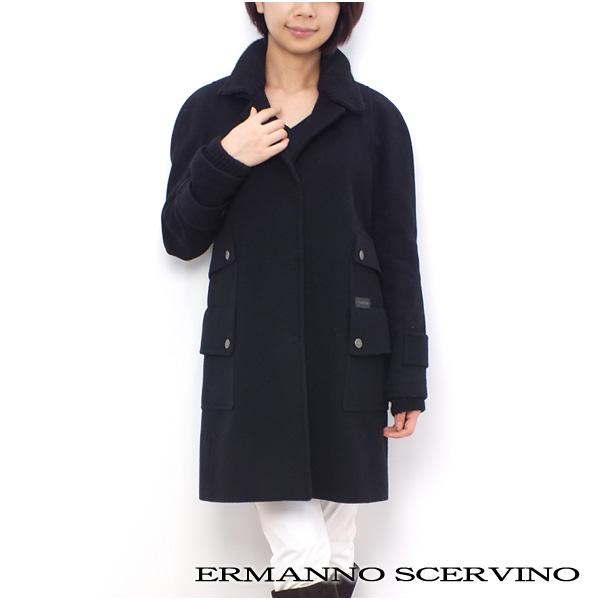 レディース エルマンノ シェルヴィーノ ERMANNO SCERVINOSCERVINO STREET ロング丈 コート アウター ブラック (11l SD 033 BK)