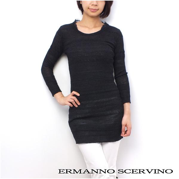 レディース エルマンノ シェルヴィーノ ERMANNO SCERVINO 長袖 チュニック ワンピース ブラック系 (SD3261 BK系)