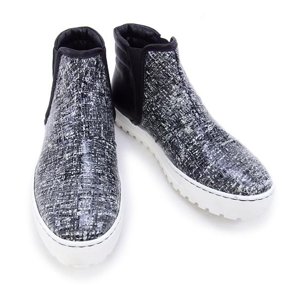 デザイン マニファトゥーラ design manifattura 靴 レディース NANCY ハイカット スニーカー ツイード×ブラック (1311 PVC CHANEL/VIT. NERO)【あす楽対応】