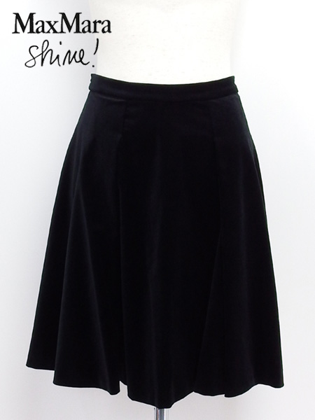 【在庫一掃セール】 マックスマーラ MaxMara Shine! フレアー スカート ブラック (KHAT 81060358 01 BK)