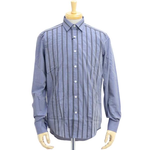 メンズ ランヴァン LANVIN ライン入り 長袖シャツ ワイシャツ ダークブルー (M05CL465AB048BR DBL)
