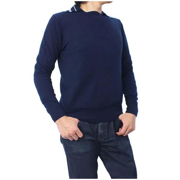 メンズ Monticello Manifattura 長袖 襟付き カシミア セーター トップス ネイビー (GDMM26 NV)