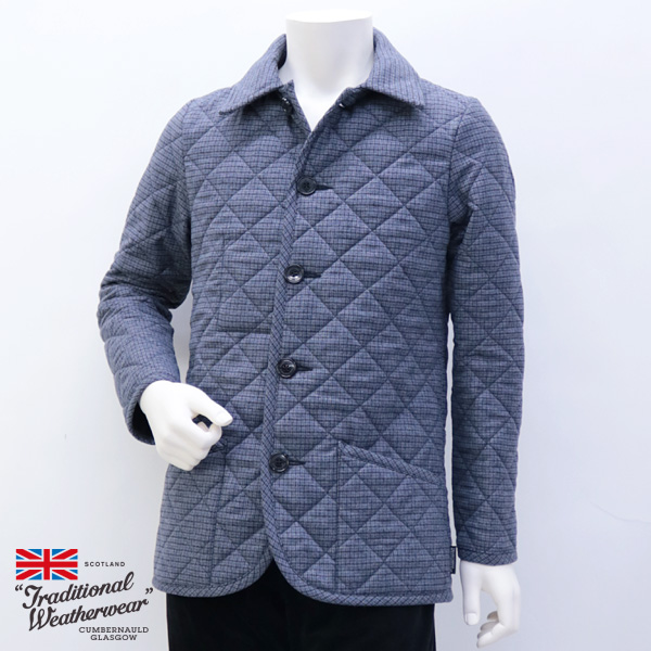 【在庫一掃セール】2018年秋冬 トラディショナル ウェザーウェア Traditional Weatherwear メンズ ウェーバリー キルティングコート ウール ブルーグレー (WAVERLY 7189 N601/N601F BLGL)