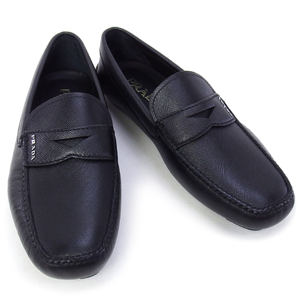 プラダ PRADA 靴 メンズ ドライビングシューズ ローファー ブラック (2DD001 SAFFIANO NERO)