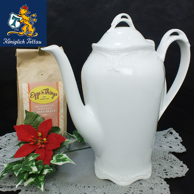 Koniglich Tettau (ケーニックリッヒ テッタウ) ドイツ生まれの白い食器 コーヒーポット ホワイト (K-0013 RUBIN WH)