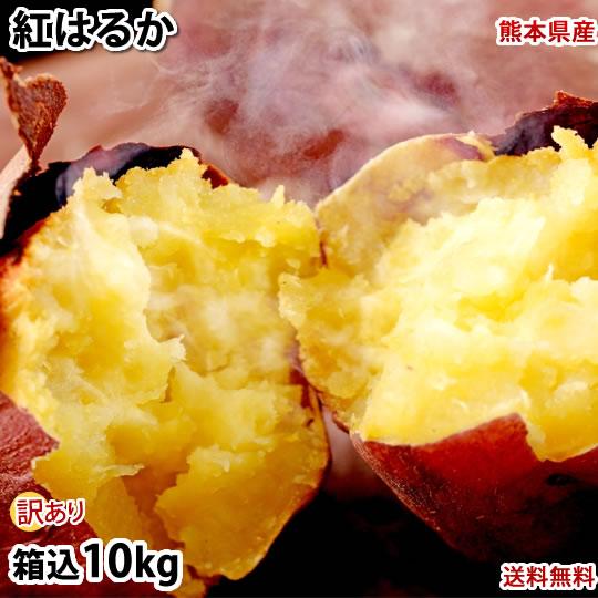 さつまいも 紅はるか 訳あり 10kg 箱込 内容量9kg 補償分500g 送料無料 無選別 べにはるか 芋 サツマイモ 熊本県産 大好評です 往復送料無料 いも 紅蜜芋 焼き芋