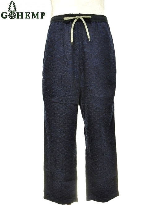【送料無料】【MEN'S】GOHEMPゴーヘンプ NEW DAY PANTS ニューデイパンツ HEMP LEAF COLLAGE ジャカードで表現さ れた麻柄の幾何学的な模様が圧巻です。
