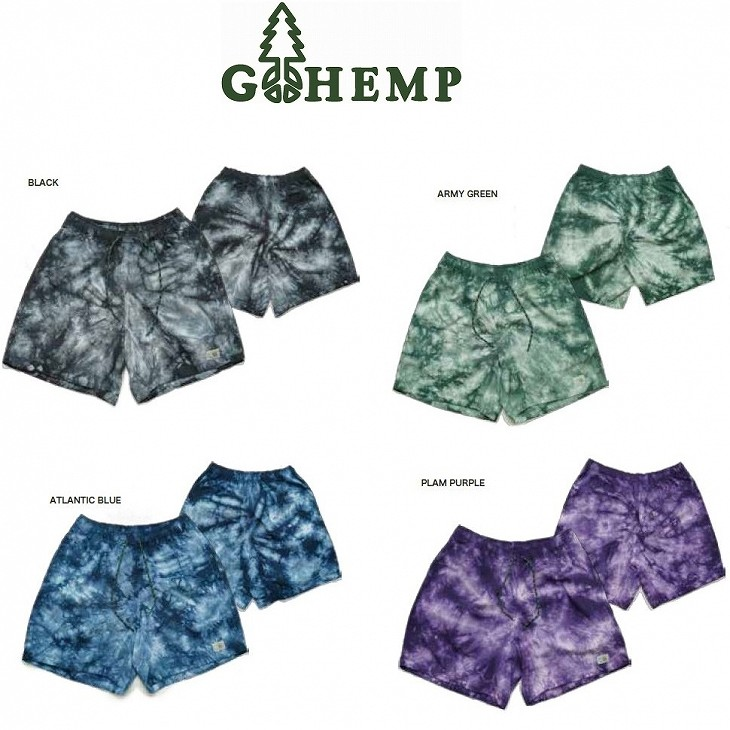 【MEN'S】GOHEMPゴーヘンプ TIE DYE HEMP JAM SHORTS GOHEMPが提案する夏の新定番ヘンプジャムショーツ 新たにタイダイ染めバージョン