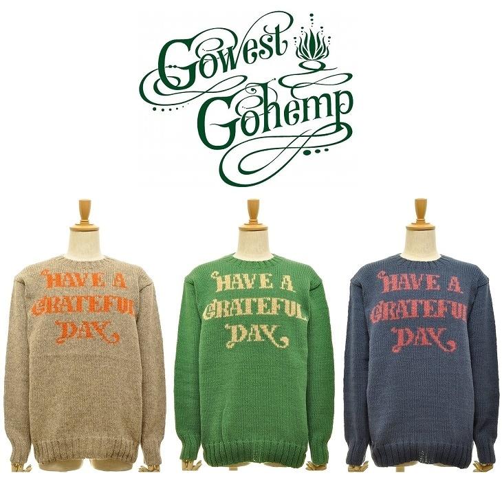 【送料無料】【MEN'S】GOHEMPゴーヘンプ GRATEFUL DAY CREW KNIT グレイトフルデイクルーニット HAVE A GRATEFUL DAY』のロゴをジャガード織で表現フロントロゴのカジュアルなニット
