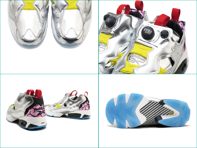 Reebok insta pump fury OG VP Reebok INSTAPUMP FURY OG VP Silver metallic / black / bright yellow SILV MET/BLACK/BRIGHT YELLOW AR1445 mens Womens sneakers