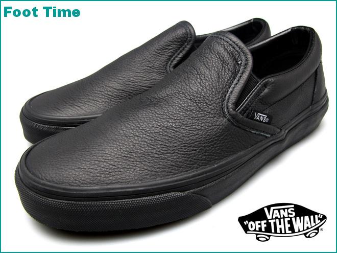 vans premium black leather slip on