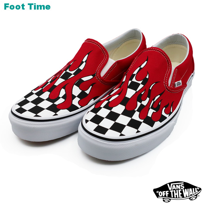 960078e5f8498 Vans classical music slip-ons (checker frame) VANS CLASSIC SLIP-ON (CHECKER  FLAME) racing red   toe roux white RACING RED TRUE WHITE VN0A38F7RX5 men ...