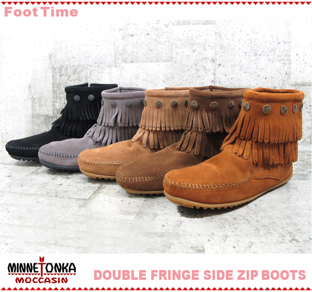 MINNETONKA DOUBLE FRINGE SIDE ZIP SHORT BOOT 5color 691T/692/693/697T/699